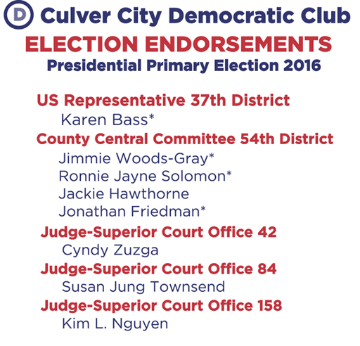 Culver City Democratic Club Endorsed Candidates